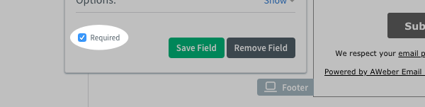 Click the Required checkbox and click Save Field