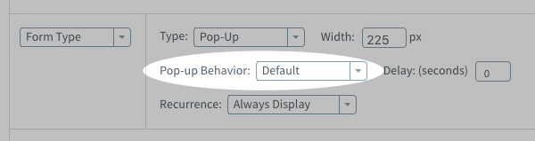 Pop-up Behavior section