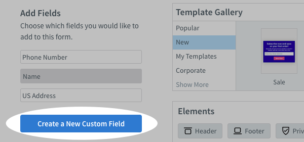 Click Create a New Custom Field button to add a field