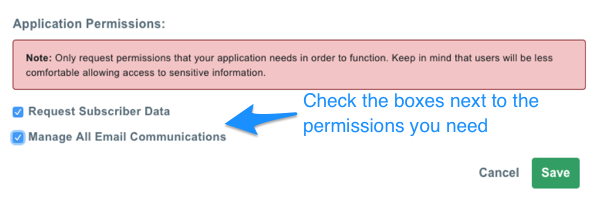 Click checkboxes for needed permissions