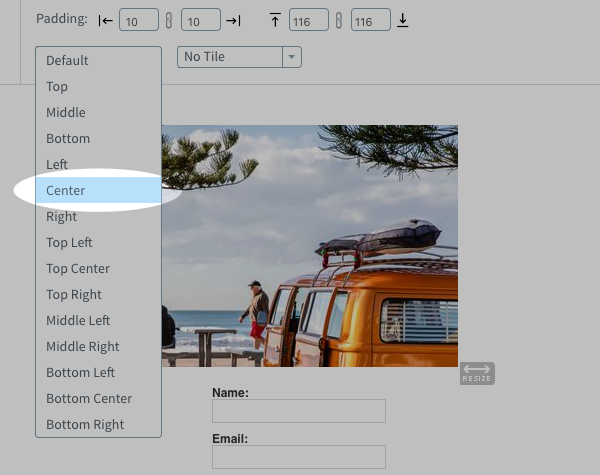 Use the alignment drop-down menu to align your image how you want