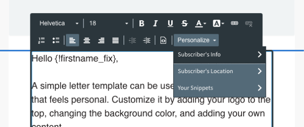 Personalize drop-down menu