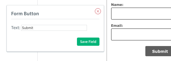 Change the text of the button from the Form Button box