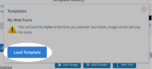 Click the Load Template button from the pop up