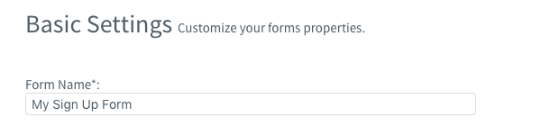 Name your form in the Form Name field