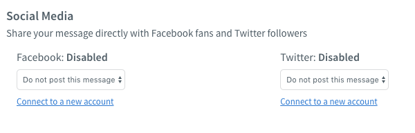 Select your Facebook or Twitter account from the drop-down menus
