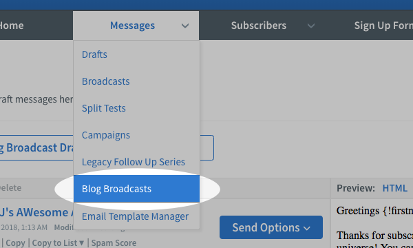 Hover over Messages and click Blog Broadcasts