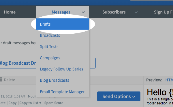 Hover over Messages and click Drafts