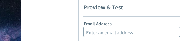 Enter your test email address in the Email Address field