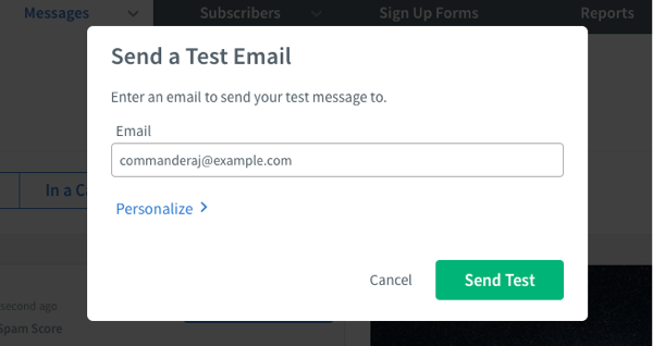 Enter your email address in the window that pops over the page