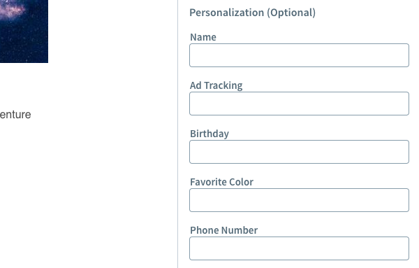 Add any personalizations to the Personalize section