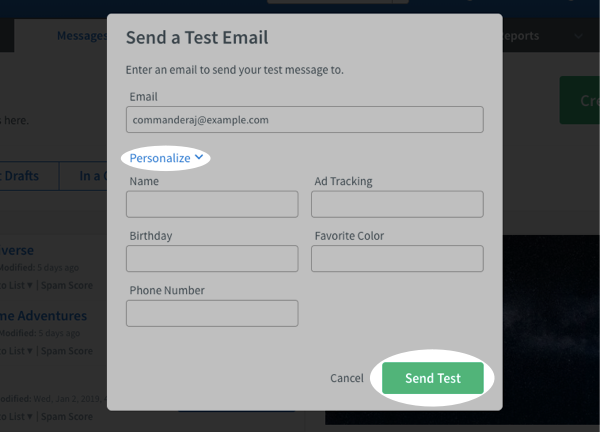 Click Personalize to add any personalizations