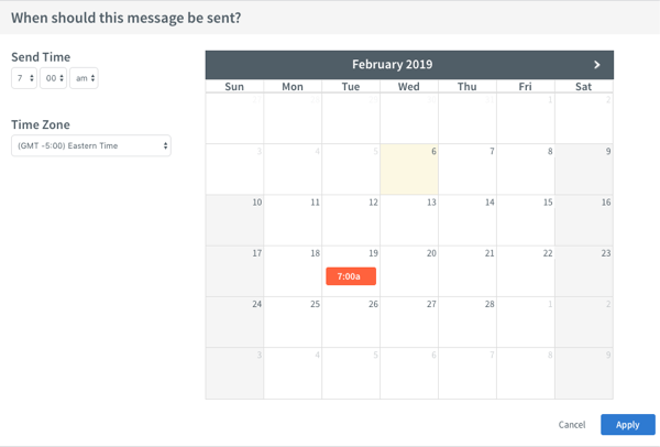 Calendar to schedule the message