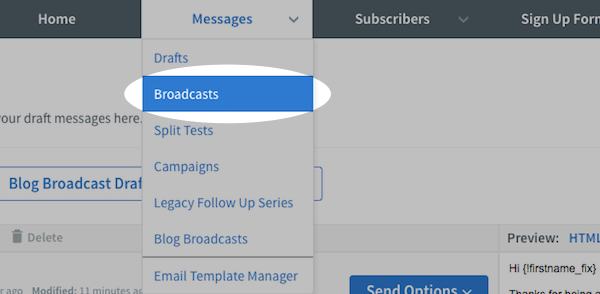 Broadcasts button