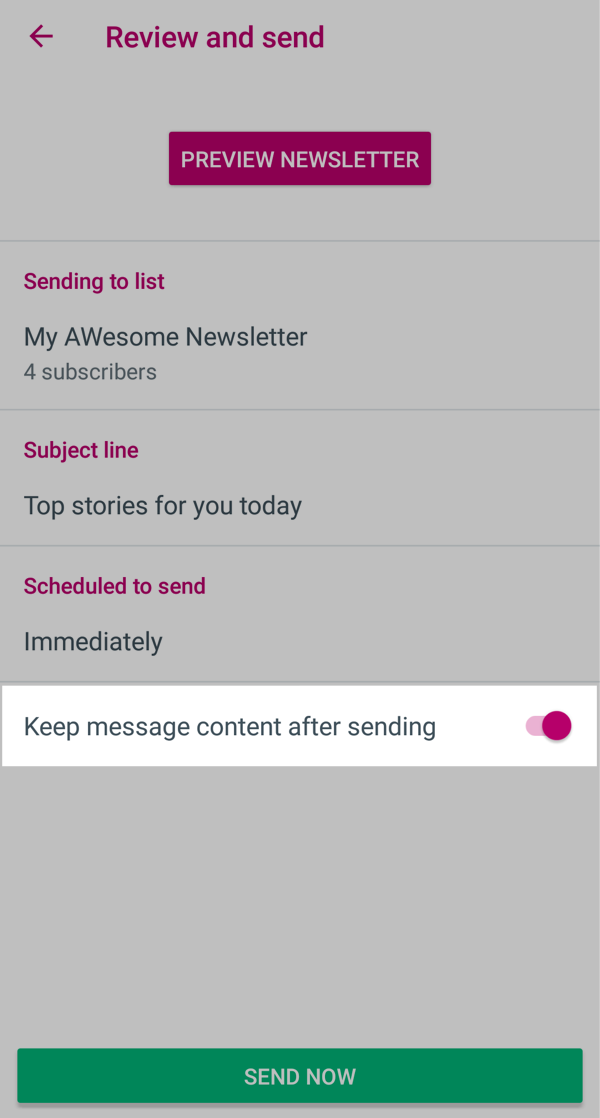 Toggle Keep message content after sending on