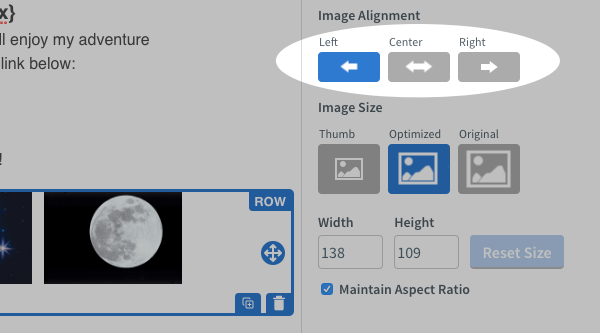 Add image blocks to your columns and align as needed