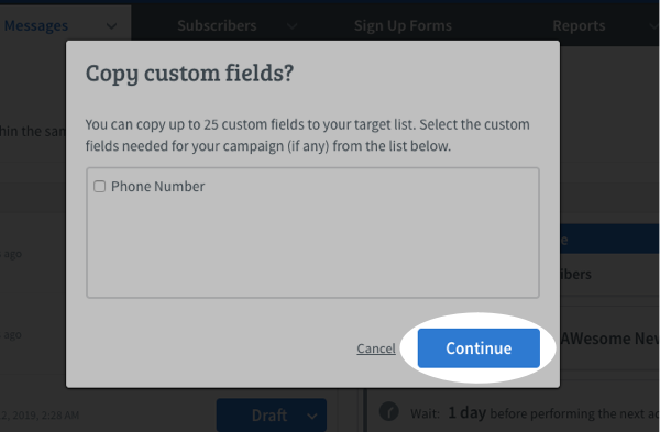 Select any Custom Fields you would like to copy