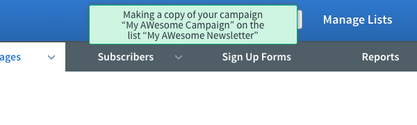 Message letting you know the Campaign is being copied