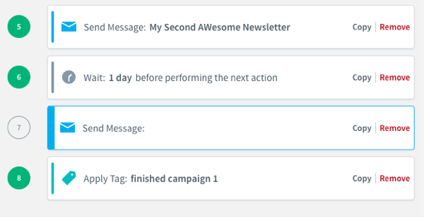 The message will now be removed and you can choose another draft to add to the action