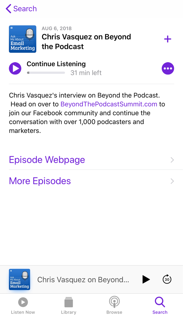 Open Apple Podcasts and select the podcast episode
