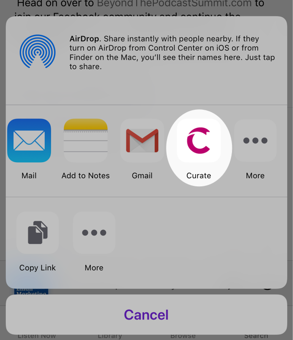Select Curate from the sharing options