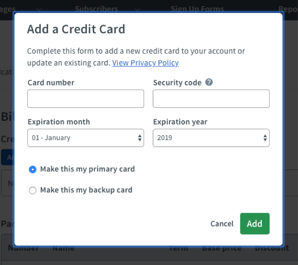 Enter credit card details and click green Add button