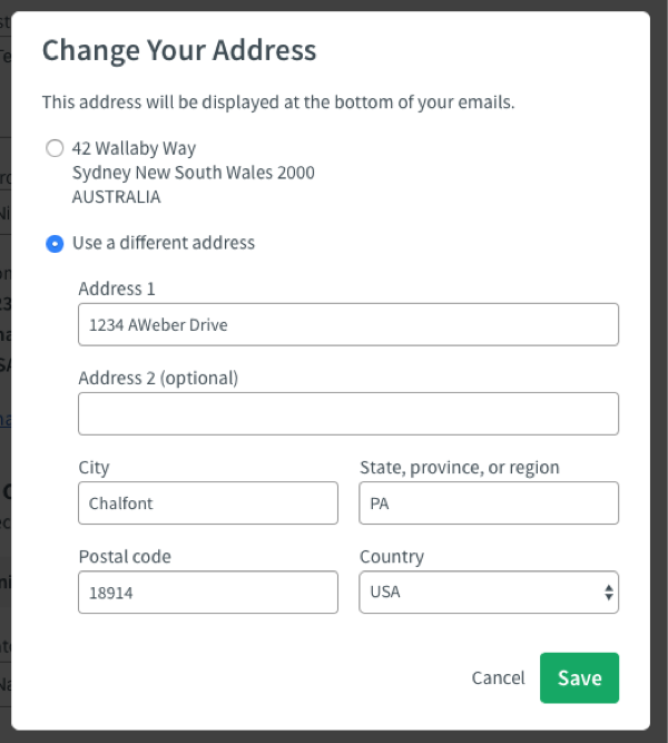 enter new address or select a previously used address and click green Save button