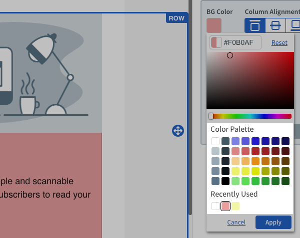 Choose from Color Palette and Recently Used colors