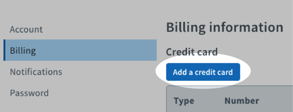 Click blue Add a credit card button
