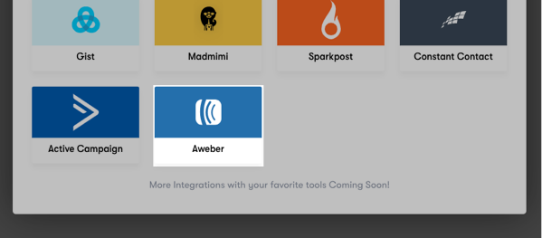Select AWeber from the list of available integrations