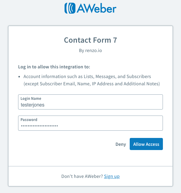 Enter your AWeber login credentials and click Allow Access