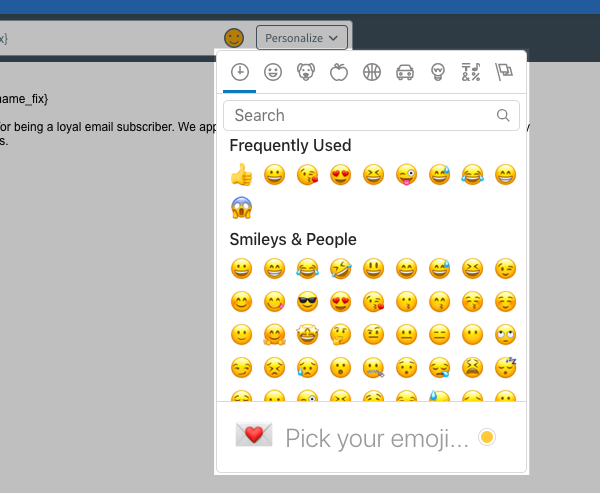 Scroll through the available emojis