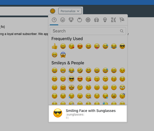 Description of the emoji and unicode emoticon