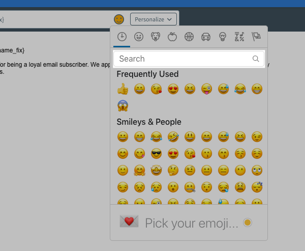 Search for emojis using the search bar
