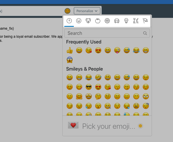 Click the icons at the top of the emoji picker to browse categories