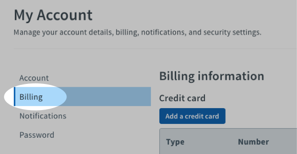 select Billing from the left side of the page