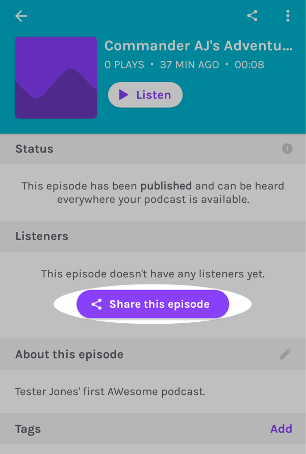 Tap the Share this episode button