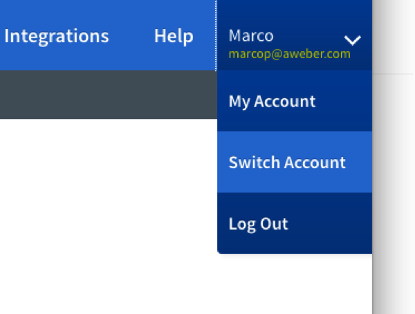 select Switch Account from drop down menu