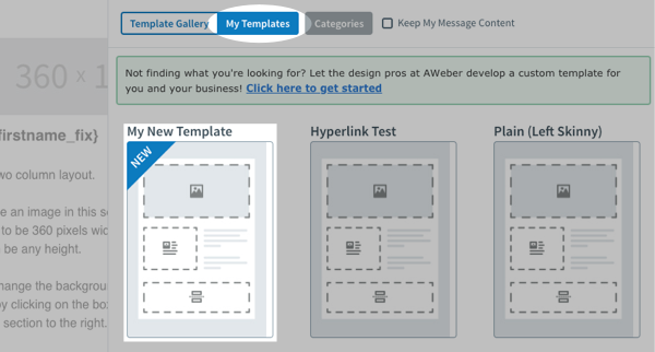 Select your custom template and click apply