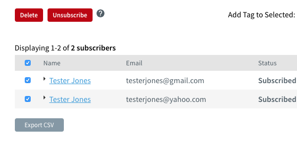 Click the checkbox to select the subscribers you want to delete