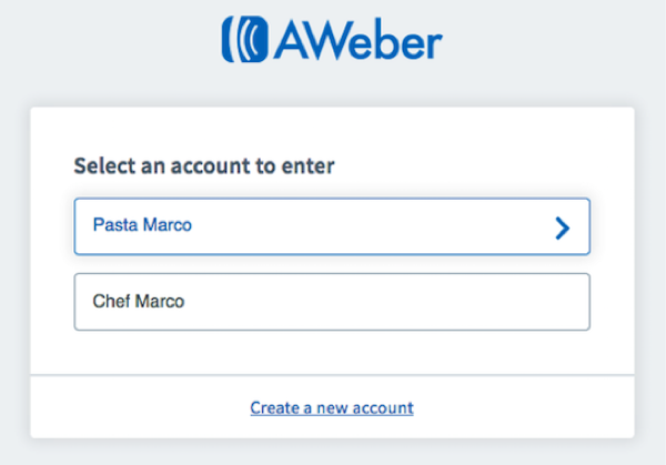 Selected account will have a blue border