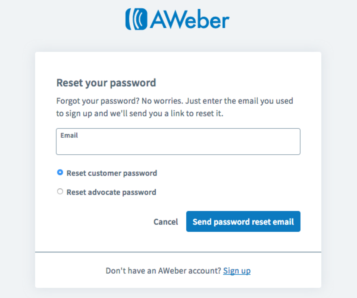 How do I reset my password? – AWeber Knowledge Base