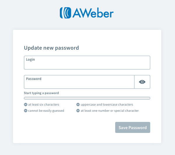 Login Name and New Password