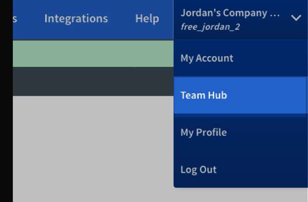 choose Team Hub from the drop down menu in the top right corner of account