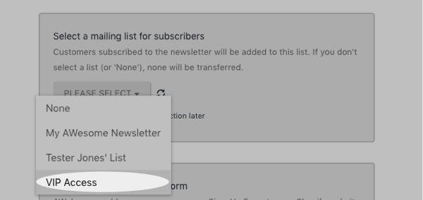 Select a list to add mailing list subscribers