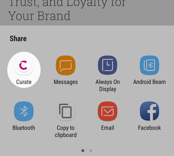 Select Curate from Share options for Android