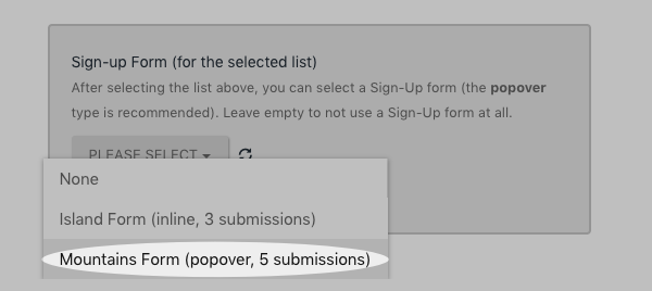 Select the AWeber form you would like to use