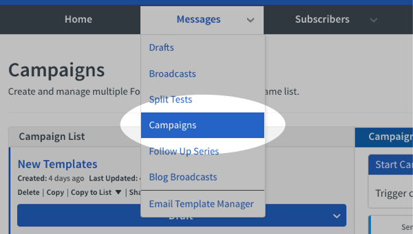 select Campaigns from Messages drop down menu