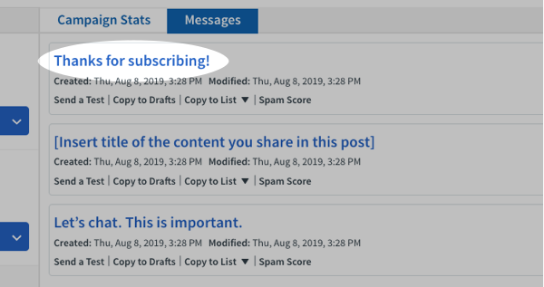 Click the subject line of the message you want to edit