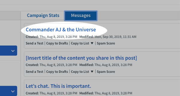 Make any needed changes to your message, and then click Save and Exit